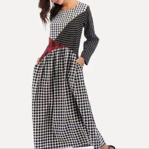 Mixed print Maxi Dress!